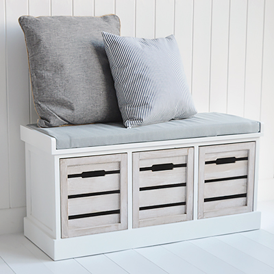 Hallway furniture New England, Coastal Country and City. Hartford white and grey storage bench seat with three drawers for storage