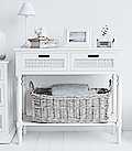 Colonial White small lamp table with a drawer and shelf for hall furniture storage
