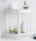 White Colonial living room furniture, a half moon console sofa table