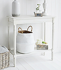 Colonial white living room furniture, perfect console sofa table for small halls
