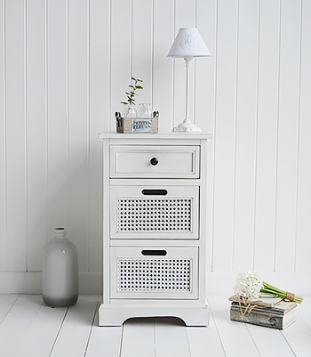 White wall panels give the traditional beach hut look and are an easy option in decorating, instantly transporting you to the rustic Maine coasts