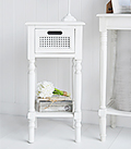 Colonial White small lamp table with a drawer and shelf for living room furniture storage