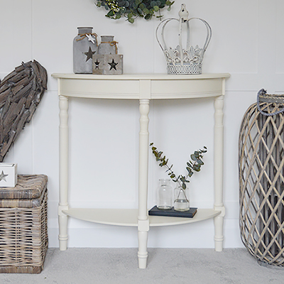 Hastings narrow antique white hallway half moon console table with a shelf. New England furniture and table for hallway furniture and living room design from The White Lighthouse Hallway. New England country and coastal furniture. Free delivery UK