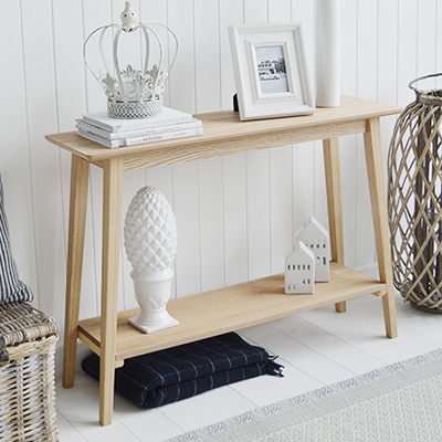 Narrow Hallway Furniture Console Table. Specifically designed for narrow hallways our New Shoreham hall table is a perfect choice at only 30cm deep at the widest top. In a light coloured wood veneer the table will impeccably complement all home interiors and styles. A traditional  simple design with the straight lines giving it a modern touch.The shelf adds to the look of the table as well as offering an area for display or storage…