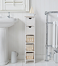 Narrow 20cm wide bathroom storage cabinet