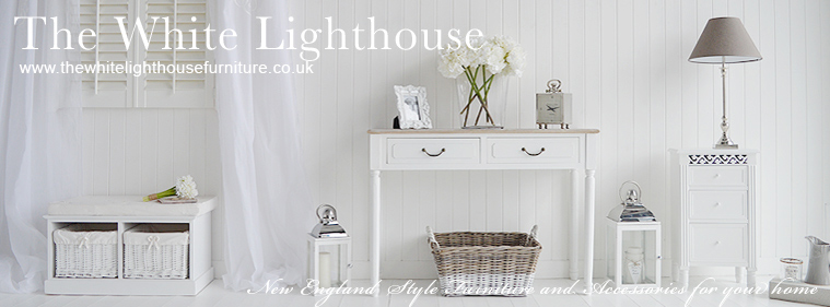 White New England furniture and home accessories for Bedroom, Living Room, Hallway and Bathroom. Coastal, Nautical French and Scandinavian style home interiors