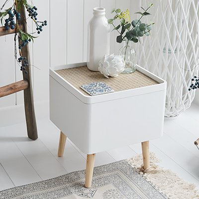 Harvard white storage Lamp Table. Elegant New England Coastal and Country Furniture.  Mixed with natural materials, cushions and throws with plently of texture and interest gives a classic New England look to your interior.