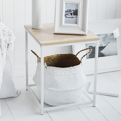 Southampton white lamp table for white living room furniture. New England styled interiors for country, coastal and city homes. Here we have placed our distressed white crown under for texture