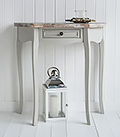 Bridgeport Grey Half Moon hall console table in grey to complement beach style interiors and white furniture