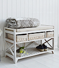 Cape Cod Hall Storage Bench with baskets and cushion