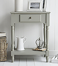Charleston grey table for living room furniture with shelf and drawer