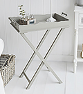 Charleston Grey folding guest tray table for living room