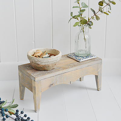 Pawtucket Decorative wood stool or New England furniture in coastal and country homes