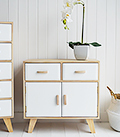 Hamptons sideboard in wood and white with cupboard and drawer for hall furniture storage in all styles of interior design
