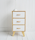 Hamptons white and wood cabinet storage furniture with drawers