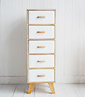 Hamptons narrow tall chest of drawers in wood and white with cupboard and drawer for hall furniture storage in all styles of interior design