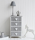 Heart Cottage Grey and White 4 drawer chest for New England Country and Coastal furniture and home interiors