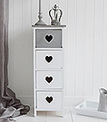 Heart Cottage Grey and White narrow chest of drawers 4 drawer chest for New England Country and Coastal furniture and home interiors
