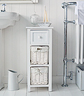 Freestanding white Bathroom Cabinets,  4 drawer slim narrow bathroom storage with drawers 25cm