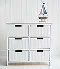 Brighton white bathroom furniture. Cabinet with 6 drawers