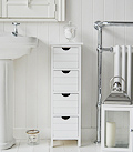Freestanding Bathroom Cabinets,  4 drawer slim narrow bathroom storage with drawers 25cm