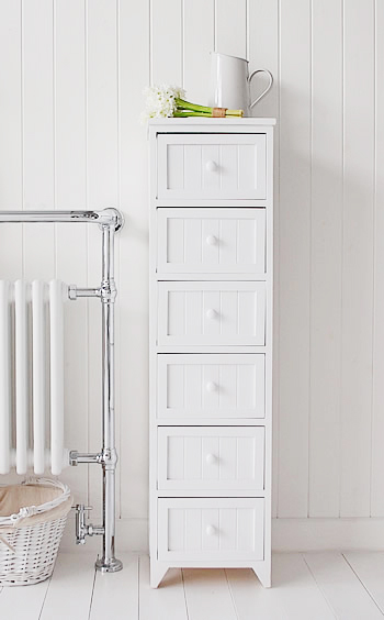 Maine narrow tall freestanding bathroom cabinet with 6 for White bathroom chest