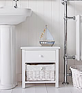 New Haven small white 2 drawer bathroom storage cabinet