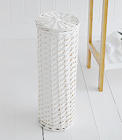 Boothbay white Toilet Roll Basket Storage