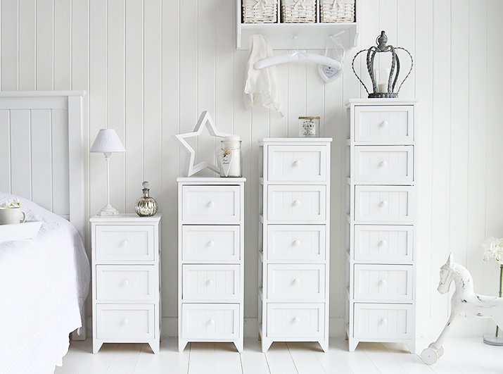 Maine Tall Slim Chest Of 5 Drawers White Tallboy Bedroom