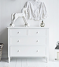 Range of white chests of drawers available in different sizes for all your bedroom storage