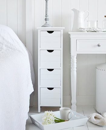 Dorset Narrow 25cm White Storage Furnitue For Bedroom And Bathroom Drawers