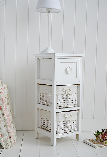 White Narrow Bedside Table With Drawers 25cm Wide Sweetheart Bedroom White Furniture