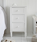 Simple white bedside cabinet with 3 drawers