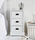 Southport white 3 drawer cabinet for bedside table