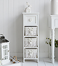 White narrow 23cm wide bedroom storage drawers