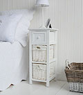 Bar Harbor white 25cm slim bedside table